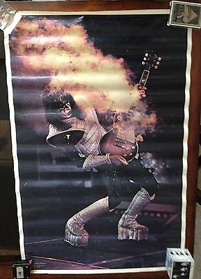 """1977 Aucoin KISS ACE FREHLEY Alive II Smoking Guitar Boutwell Poster 33½"""" x 22"""""""