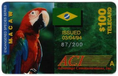 $100. Macaw Endangered Species ('A') Phone Card