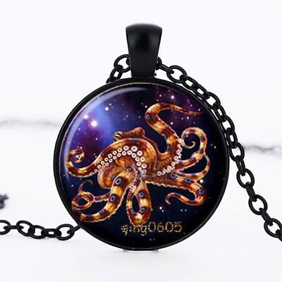 Octopus Nebula Photo Glass Dome Necklace black Chain Pendant Necklace