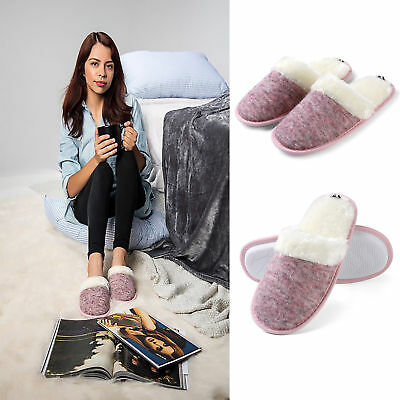 Women's Knitted Plush Fleece Lined Slip-On Memory Foam House Indoor Slippers