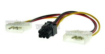 2 Molex to 6 Pin PCI E Adapter Cable 6 Pin Female to 2x 4 Pin Male Power Cord