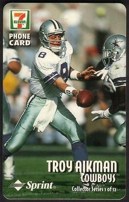 15m 7-Eleven: 1996 NFL Football Series Cplt Set 12 Diff (No Packages) Phone Card