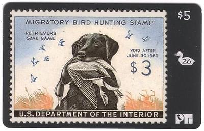 Duck Hunting Stamp Card #26: Void After 1960 Mallard & Dog USED Phone Card