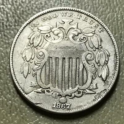 1867  With Rays  Shield Nickel   Fine / Vf Details.  #6407