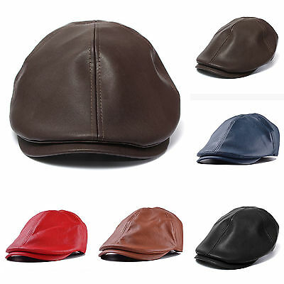 Mens Leather Peaked Cap Cabbie Newsboy Gatsby Flat Ivy Golf Baker Beret Flat Hat