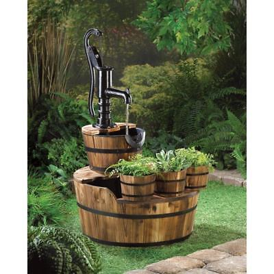 Pump And Barrel Outdoor Garden Pond Water Fountain Electric With Planter Trio