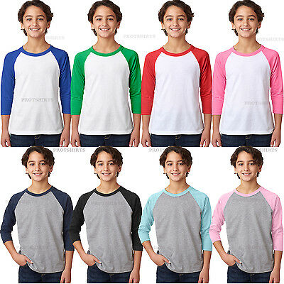 Next Level - Baseball  Tee Youth CVC Three-Quarter Sleeve Raglan T-Shirt - 3352