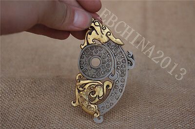 Collect Chinese Hetian White Jade Gold Carved Dragon Beast Pair Pendant Amulet