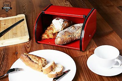 Small for Half Loaves Red Metal Bread Box with Roll Top Lid for Kitchen Countert
