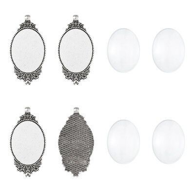 5 Sets Tibetan Silver Alloy Oval Big Photo Pendant Setting Bezel & 40x30mm Cover