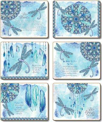 Country Kitchen MANDALA DRAGONFLY Cork Backed Placemats or Coasters Set 6 NEW...