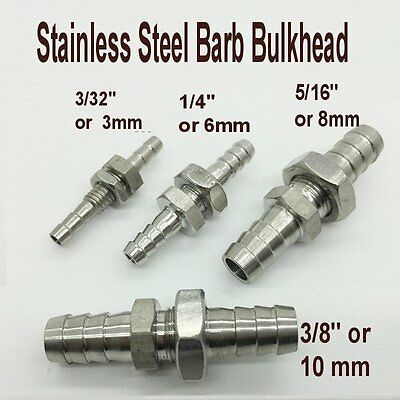 """Fitting Bulkhead Barb Mender 3/32"""" or 3mm Hose ID Stainless Steel @L8"""