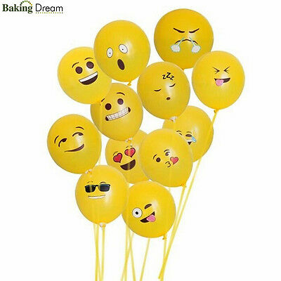 "10Pcs 12"" Emoji Party Series Latex Balloons One Emoji Smiley Face Birthday Happy"