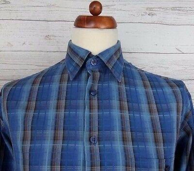 Vtg 90s L-Sleeve Blue Check Lightweight Kings Road Cotton Casual Shirt -L- CJ35