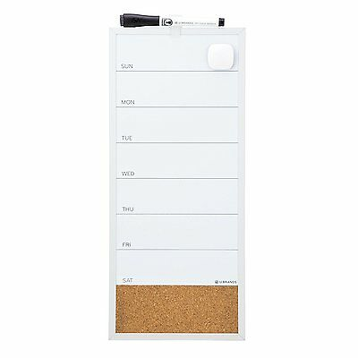 U Brands Magnetic Dry Erase/Cork Weekly Vertical Calendar Board, 16 x 7 Inches,