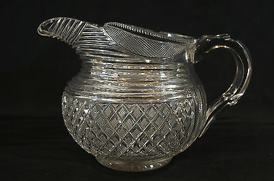 Early Regency C 1820 Anglo Irish Blown & Heavily Cut Crystal Pitcher Waterford ?