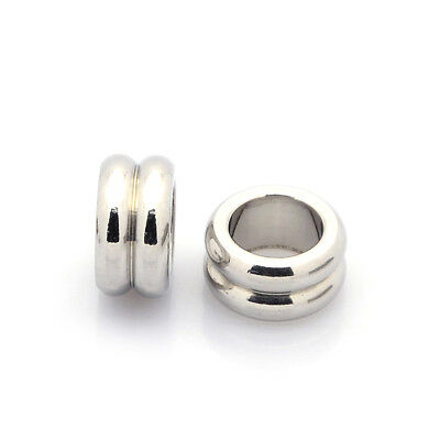 10pcs 304 Stainless Steel Large Hole Spacers Findings Column Metal Beads 10x5mm