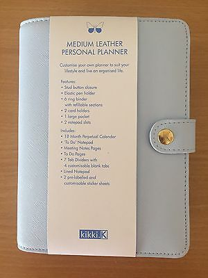 Kikki K Ice Blue Textured Medium Leather Personal Planner WITH FREE INSERTS -NEW