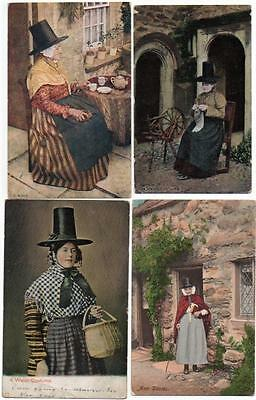 4 Early  WELSH LADIES  IN TRADITIONAL COSTUME   Postcards E