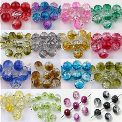 Wholesale 20/50Pcs Mixed Glass Mixed Round Crackle Crystal Charms Beads Jewelry