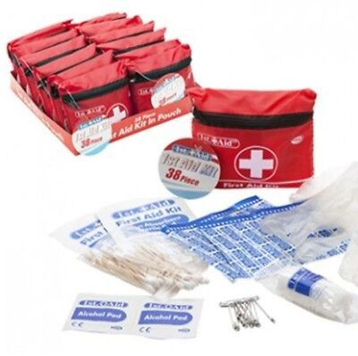 SMALL MINI HANDY SIZE 38pc FIRST 1ST AID KIT ZIPPED BELT POUCH CYCLING RUNNING.