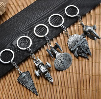 Fashion Star Wars Millenium Falcon Destroyer Metal Keyring Keychain Chain Ring