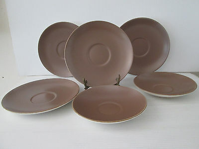 6 Poole Pottery Saucers Two Sizes Brown Saucer Dinner ware Replacements