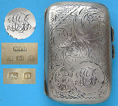 Silver Cigarette Case ('ALB'?): William James Holmes: 52g/1 2/3 Troy Oz: 1913
