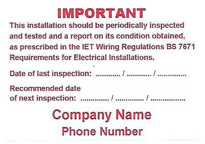 Mini Personalised Electrical Periodic Test Inspection Labels / Stickers