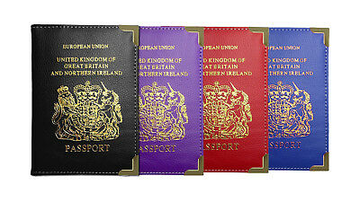 UK PU Leather Passport Holder - EU Travel Document Protector Wallet Cover Case