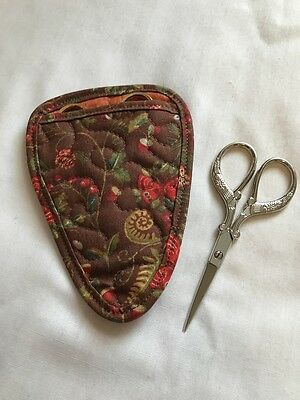 Handmade Woodland flowers Quilted cotton fabric embroidery scissor holder