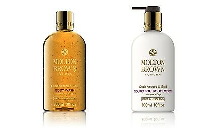 Molton Brown Oudh Accord & Gold Shower Gel & Lotion Gift Set (2 x 300ml) - NEW