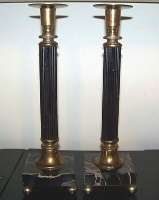 """2 Antique Vintage Candle Holders Black Veined Marble Base Metal Brass 10.5"""" Tall"""