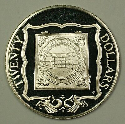 """1985 Proof $20 """"Ivory Sundial"""" British Virgin Islands Sterling Silver Coin"""