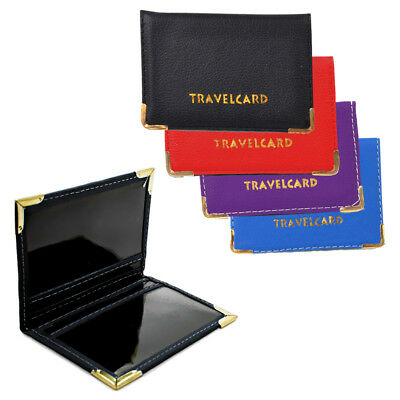 Faux Leather Travel Card Holder - Credit Card & ID Wallet 2 Window Case / Cover