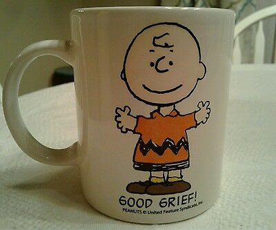 "Peanuts Mug CHARLIE BROWN ""GOOD GRIEF"" white coffee ceramic cup"
