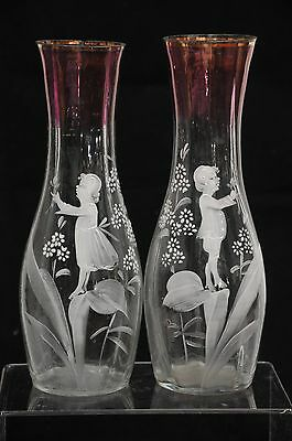 "PAIR of BOY & GIRL ANTIQUE OLD MARY GREGORY VASES 9"" tall with FLOWERS & LEAVES"
