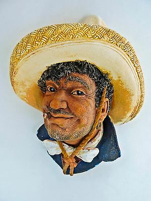 Vintage Genuine Bossons Of England Chalkware Pancho Mexican Head Sculpture