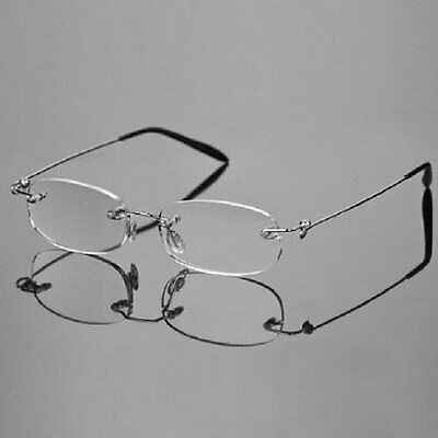 Rimless Silver Light Reading Glasses Magnifier Carrying Case Readers +1.00~+4.00