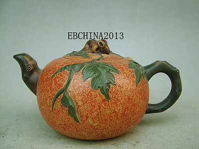Chinese Yixing Old Zisha Clay Carved Green Leaves Teapot Tea Pot kettle Marked