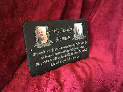Large, Medium & Small Double (2 Photos) Pet Memorial Slate Personalised Plaque