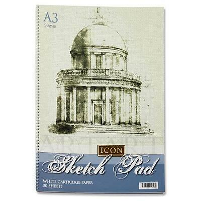A3  Artist Sketch Book White Cartridge Paper 90 GSM,30 Sheets Spiral Sketch pad