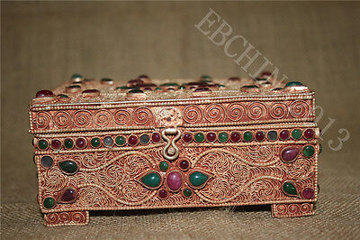 Tibet Old Silver Copper Gold Gilt inlay Turquoise Coral Garuda Case Jewelry Box