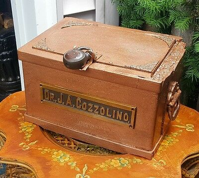 Dr J A Cozzolino Med Stash Antique Refurbished 19thC Strong Box * Pickup Only