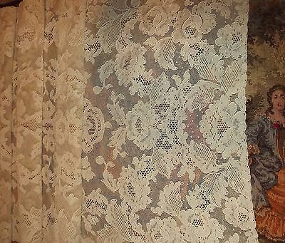 "Antique Vintage French ALENCON Floral Net Lace Embroidered RUNNER 42"" x 17"""