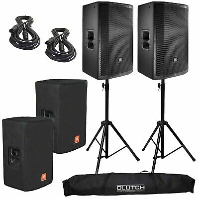 "JBL PRX815W 15"" 2-Way Powered Active PA DJ Loud Speakers + Stands + Covers"