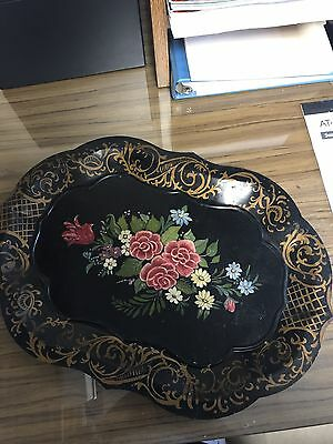 """Large Floral Painted Scalloped 18"""" Black Metal Toleware Tray with Gold Trim"""
