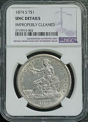 1874 S US Trade Dollar NGC UNC Details