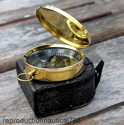 Shiny Brass Compass Antique Stylish Pocket Working Marine Compass With Box Decor