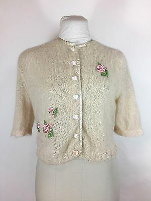 Vintage 1950s Ivory Sweater Pink Floral Applique Cardigan Fuzzy Cropped Swing